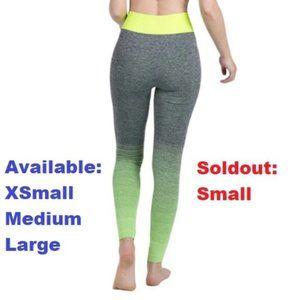 Gray with Lime Green Fade Yoga Pants